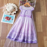 Frozen 2 Elsa Princess Knee Length Tulle Girl Costume Dresses with Cape