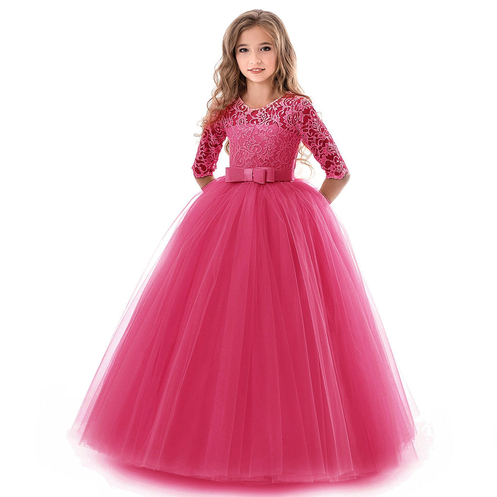 Girls Kids Formal Lace Princess Party Wedding Dresses Full Length Ball Gown Dress