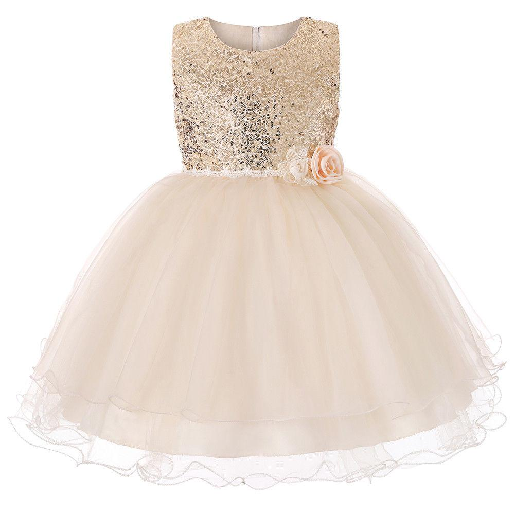 Flower Girl Dresses Sequin Princess Wedding Birthday Holiday Party Formal Graduation