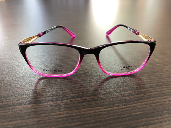 Women's Eyewear Black and Purple Pattern Frame Eyeglasses