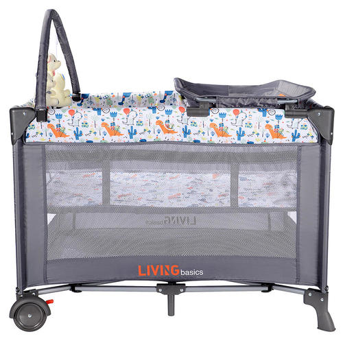 Portable Baby Play Yard with Removable Bassinet and Changing Table, Grey - LIVINGbasics™ Bedside Sleeper for Baby, Playpen, Easy Folding Portable Crib (Grey)