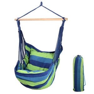 Hammock Chair Rope Swing Chair Blue 265Lbs Capacity 2-Seat Cushions Included - LIVINGbasics™