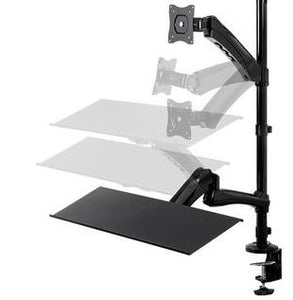 Sit-Stand Articulating Monitor and Keyboard Workstation