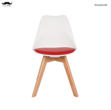 Upholstered Dining Chair with Wooden Legs and Soft Padded- Moustache®, 2/Pack