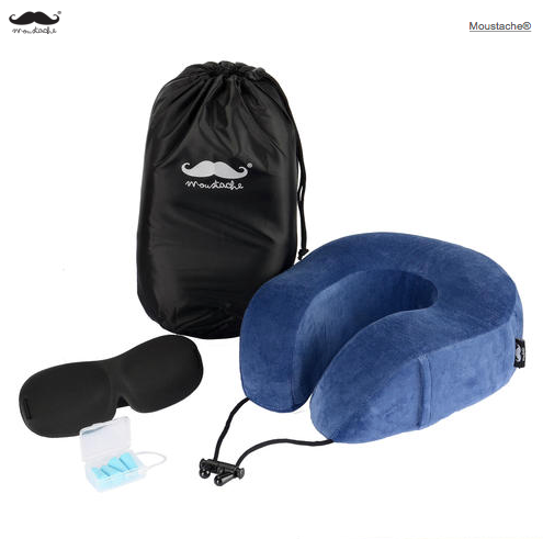 Memory Foam Neck Pillow Travel Kit with Sleep Mask and Earplugs
