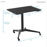 Gas-Lift Height Adjustable Sit-Stand Rolling Laptop Desk