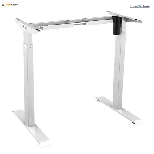 Electric Sit to Stand Adjustable Desk Riser Frame (Table Top Not Included) - White