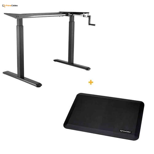 Manual Crank Adjustable Height Sit-Stand Desk Frame, Black + Anti-fatigue Standing Mat