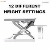 "Sit Standing Height Adjustable Desk Ergo Riser ADR 35"" + Anti-fatigue Standing Mat PrimeCables®"
