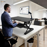 Sit Standing Height Adjustable Desk Ergo Riser + Height Adjustable Footrest Platform PrimeCables®