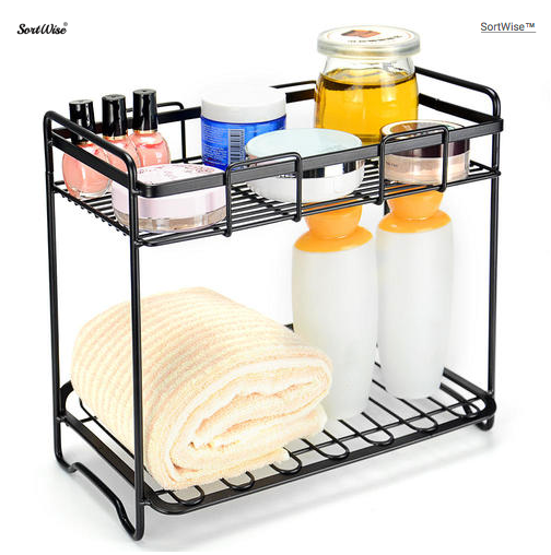 Cosmetic Rack Storage Organizer Kitchen Bathroom Multi-Purpose Holder Wire Shelf 2-Tier - SortWise™
