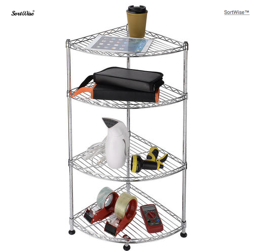 Corner Rack Storage Shelf Galvanized Anti-rust Steel Adjustable Organizer 4Tier-SortWise