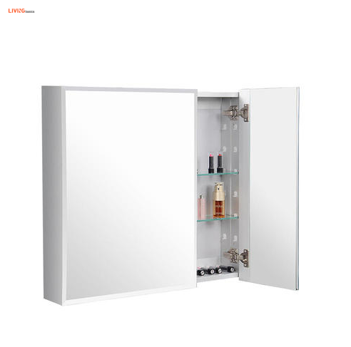 Aluminum Bathroom Medicine Cabinet Double Door Wall Mounted Cabinet with Mirror