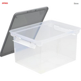 "Storex® Letter/Legal File Tote with Locking Handles 18.5"" x 14.25"" x 11.375""H - Clear"