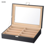 8 Slot Sunglass Organizer, PU Leather Eyeglasses Collector Display Case Storage Box - SortWise™
