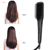 Ionic Electric Hair Brush Straightener, Ceramic, With Heat Resistant Glove