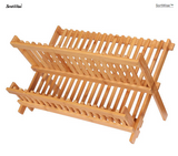 Dish Rack Drying Rack Collapsible Compact Plate Organizer Bamboo Dish Drainer Storage - SortWise™