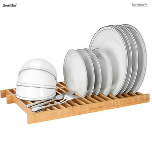 Over The Sink Dish Drying Rack Kitchen Dish Drainer, 100% Natural Bamboo - SortWise™
