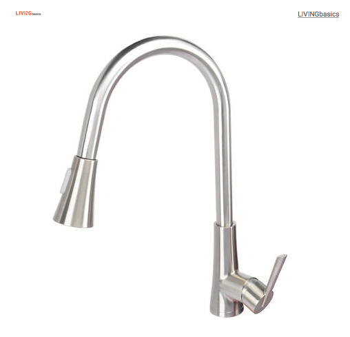 Single-Handle Pull-Down High Arc Sprayer Kitchen Sink Faucet Brushed Nickel