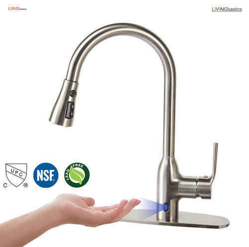 Touchless Motion Sense Kitchen Sink Faucet with Pull Down Sprayer, Brushed Nickel