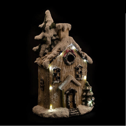 LED House wIth Snow & Christmas Wreath, 12.6''x7.9''x21.28''