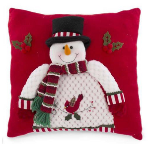 "Square Decorative Snowman on Red Cushion Used for Sofa and Bed, 14"" x 14"", 1Pc"