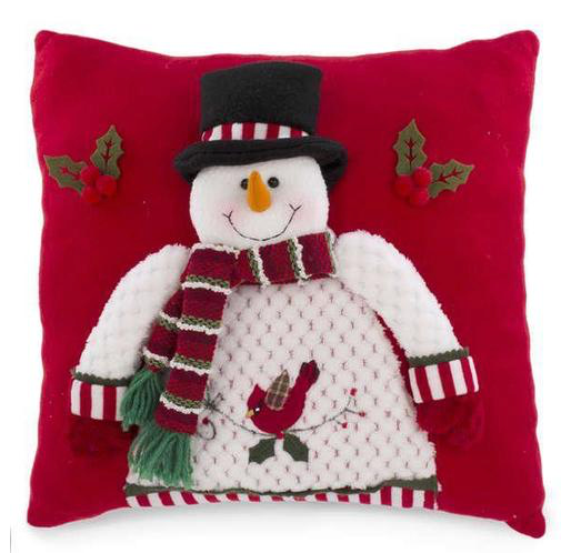 Square Decorative Snowman on Red Cushion Used for Sofa and Bed, 14