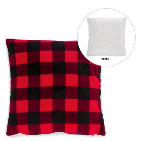 Christmas Red Plaid Cushion with Faux Fur Room Decor, 20