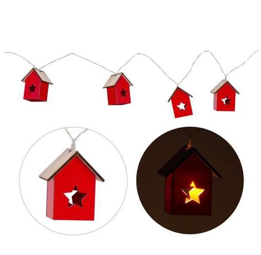 Led Little Red Houses Garland