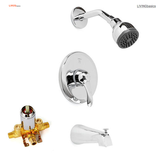 Bathroom Wall Mounted Rainfall Shower Faucet Set, with Pressure Balance Valve