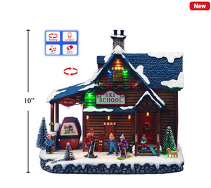 Deco N. Xmas 10'' Poly LED Scene Ski School w/Tuning & Music