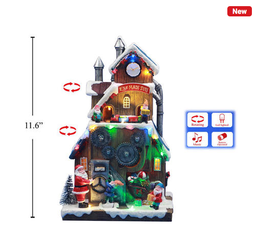 Xmas 11.6'' Poly LED Scene Elf Made Toys House with Turning & Music