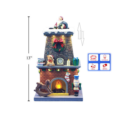 Xmas 13'' Poly LED Scene Santa Came Out of the Chimney with Music