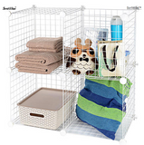 Multi Use DIY 4 Cube Wire Grid Shelves Organizer - SortWise™
