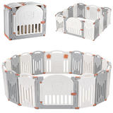 Baby Playpen, 14-Panel Foldable Kids Safety Activity Center Playard w/Locking Gate