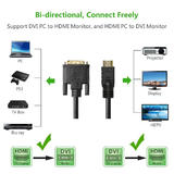 6ft HDMI to DVI-D Dual Link 28AWG High Speed Bi-Directional Cable - Black