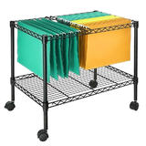 Mobile File Cart for Letter Size and Legal Size Folder, Sturdy Metal, Black - SortWise™