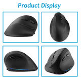 Ergonomic 2.4GHz Wireless Vertical Mouse, Rechargeable, Right-Handed Use, Black