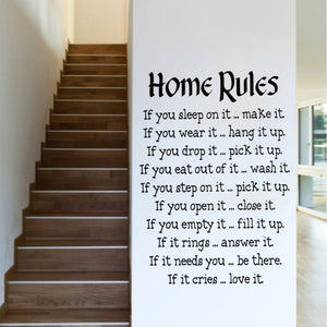 Muursticker ''Home Rules''
