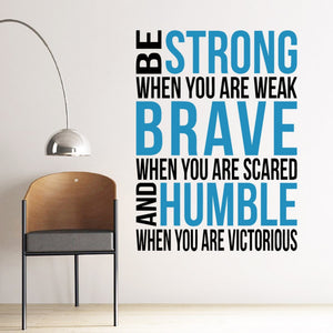 Muursticker ''Strong, Brave, Humble''