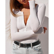 Crew Neck Bodysuit - White
