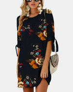 Floral Print Self-tie at Sleeves Mini Dress