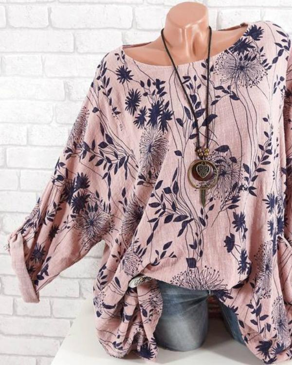Plus Size Casual Long Sleeve Leaves Printed O-Neck T-shirts