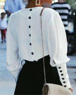Solid Elegant V-Neck Long Sleeve Blouses
