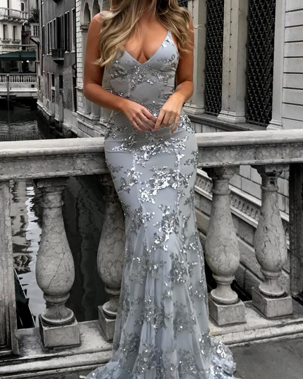 Women Sequined Elegant Maxi Slim Bodycon Glitter Strap Solid Color Party Dress