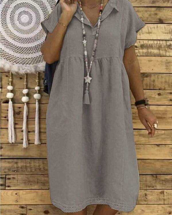 Women Plus Size Linen Cotton Short Sleeve Midi Dress