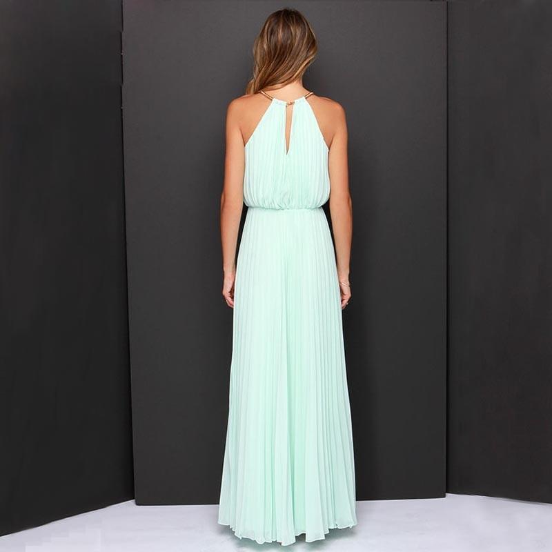 Women Sleeveless  Elegant Chiffon Solid Halter Neck Dress