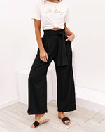 Fashion High Waist Plain Belted Wide Leg Pants