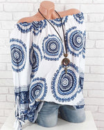 Ethnic Print Bow Know Long Sleeve Plus Size Blouses Tops