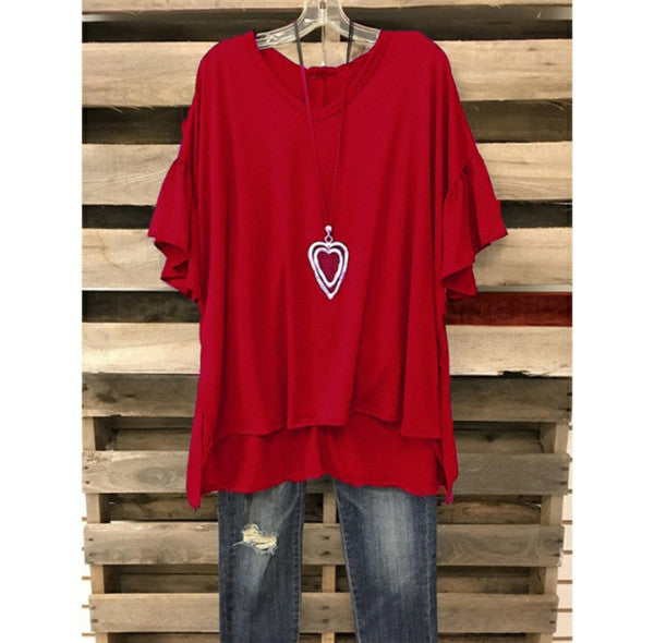 Plus Size Women Solid Color Batwing Loose T-shirts
